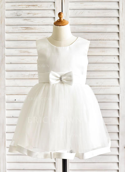 A-Line/Princess Knee-length Flower Girl Dress - Satin/Tulle Sleeveless Scoop Neck With Sash/Bow(s) (010091886)