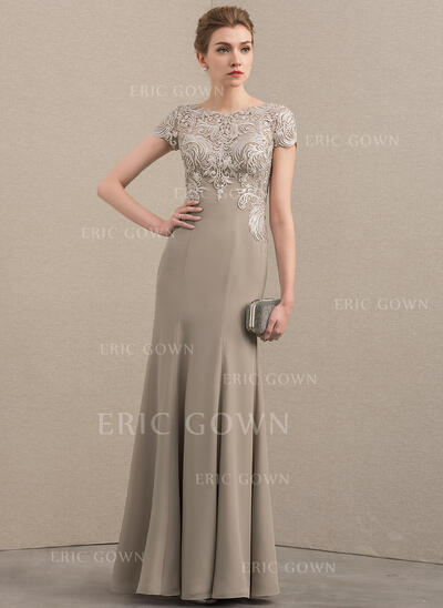 Trumpet/Mermaid Scoop Neck Floor-Length Chiffon Lace Mother of the Bride Dress (008152164)