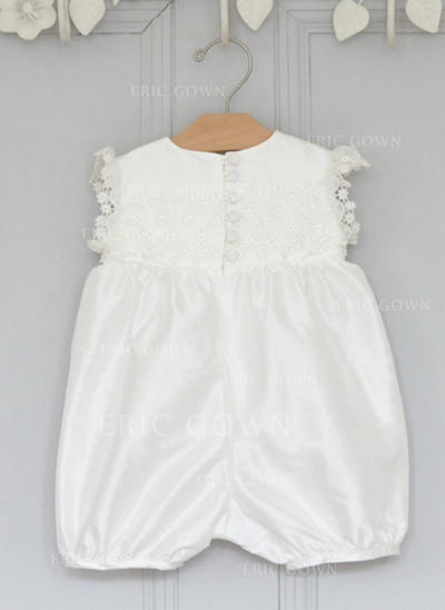 Scoop Neck Ankle-length Satin Christening Gowns With Bow(s) (2001217994)