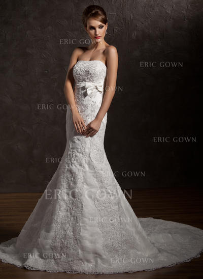 Stunning Strapless Trumpet/Mermaid Wedding Dresses Chapel Train Organza Sleeveless (002196882)