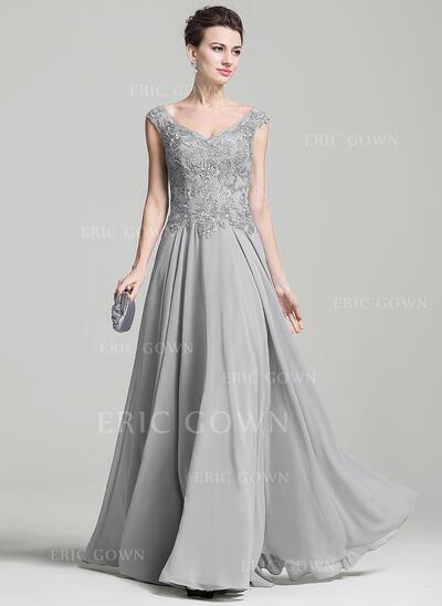 A-Line/Princess V-neck Floor-Length Chiffon Evening Dress With Appliques Lace (017092348)