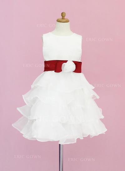 2018 New Scoop Neck A-Line/Princess Flower Girl Dresses Knee-length Organza/Satin Sleeveless (010005330)