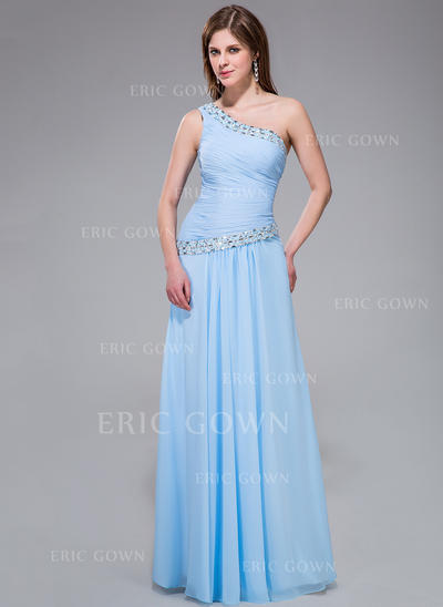 A-Line/Princess One-Shoulder Floor-Length Evening Dresses With Ruffle Beading Sequins (017030898)