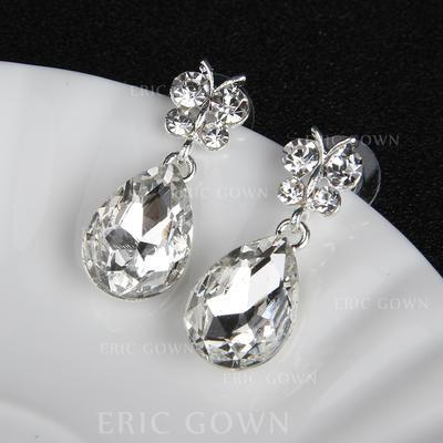 Earrings Alloy/Rhinestones Rhinestone Pierced Ladies' Wedding & Party Jewelry (011167853)