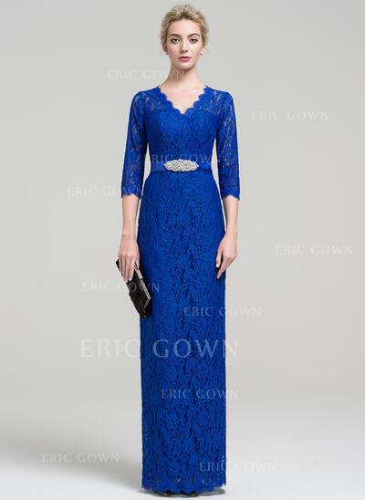 Sheath/Column V-neck Floor-Length Lace Evening Dress With Beading Split Front (017093485)