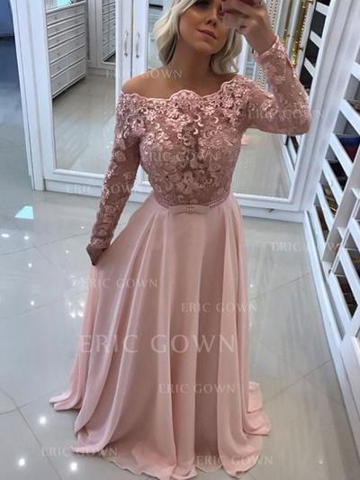 A-Line/Princess Off-the-Shoulder Floor-Length Prom Dresses With Lace (018217929)