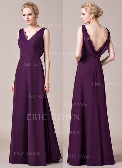 A-Line/Princess Chiffon Bridesmaid Dresses Ruffle Lace V-neck Sleeveless Floor-Length (007198833)