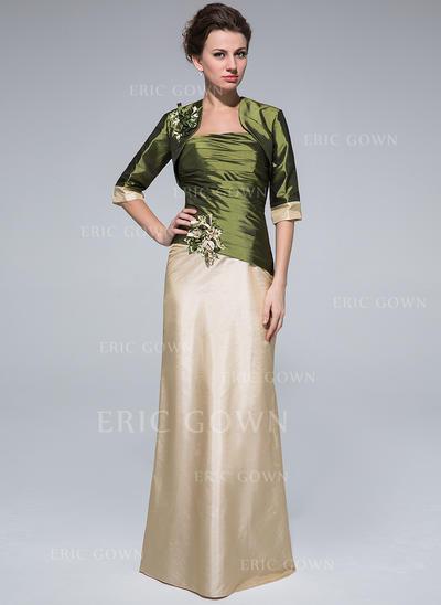Sheath/Column Taffeta Sleeveless Strapless Floor-Length Zipper Up Mother of the Bride Dresses (008213152)
