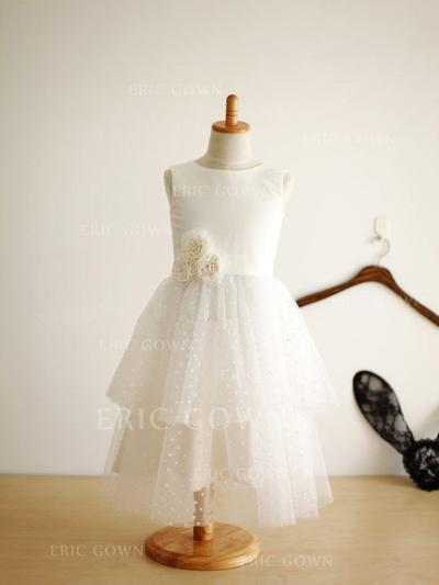 A-Line/Princess Scoop Neck Tea-length With Flower(s) Satin/Tulle Flower Girl Dresses (010211975)