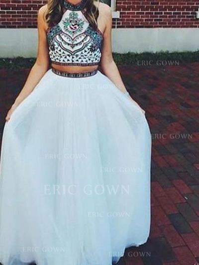 A-Line/Princess High Neck Floor-Length Prom Dresses With Beading (018218036)