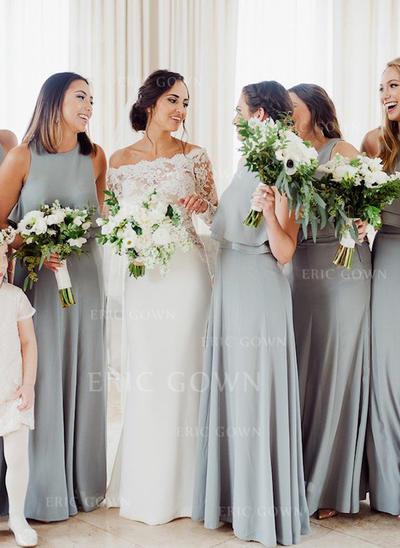 A-Line/Princess Chiffon Bridesmaid Dresses Cascading Ruffles Scoop Neck Sleeveless Floor-Length (007145051)