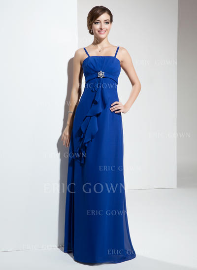 Empire Chiffon Bridesmaid Dresses Crystal Brooch Cascading Ruffles Sleeveless Floor-Length (007001118)
