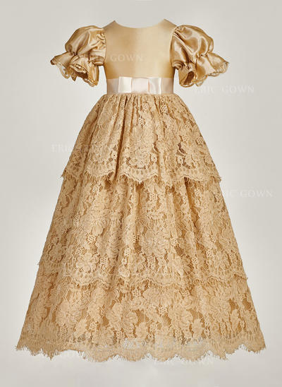 A-Line/Princess Scoop Neck Floor-length Lace Christening Gowns With Beading (2001216859)