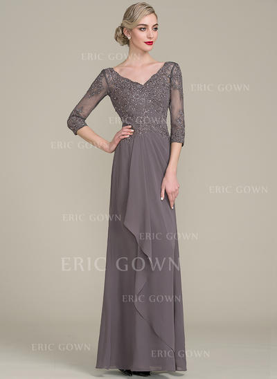 A-Line/Princess V-neck Floor-Length Chiffon Lace Mother of the Bride Dress With Beading Sequins Cascading Ruffles (008102670)