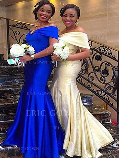 Trumpet/Mermaid Off-the-Shoulder Floor-Length Satin Bridesmaid Dresses With Ruffle (007217804)