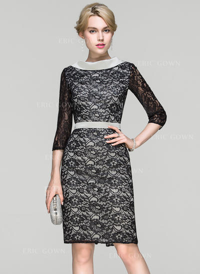 Sheath/Column Scoop Neck Knee-Length Lace Cocktail Dress (016094370)
