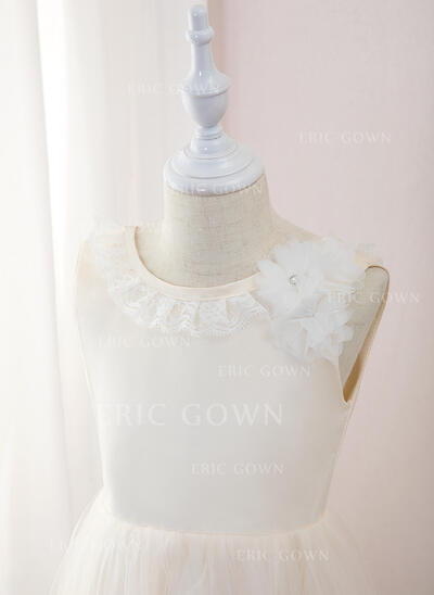 A-Line Tea-length Flower Girl Dress - Tulle/Lace Sleeveless Scoop Neck With Flower(s) (010195348)