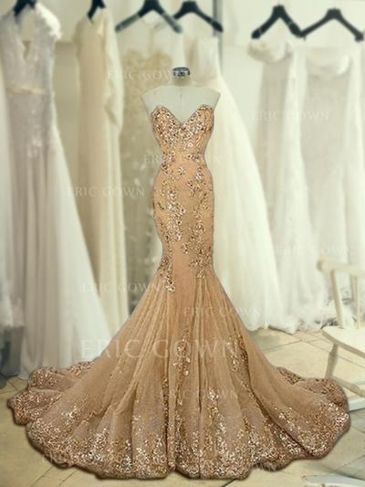Trumpet/Mermaid Sweetheart Sweep Train Prom Dresses With Beading Appliques Lace (018218503)