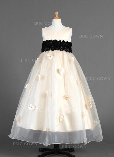 Stunning Scoop Neck Empire Flower Girl Dresses Ankle-length Organza/Charmeuse Sleeveless (010014654)