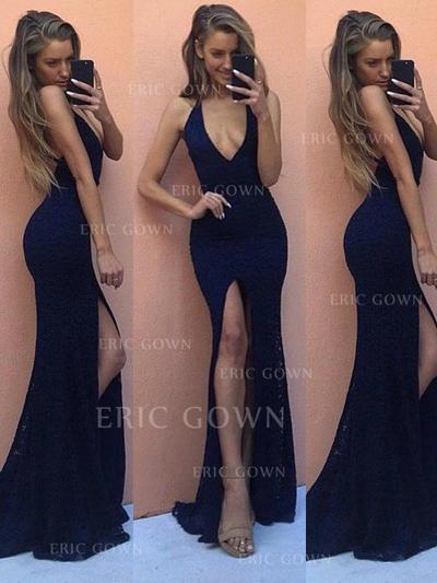 Sheath/Column V-neck Floor-Length Prom Dresses With Split Front (018210357)