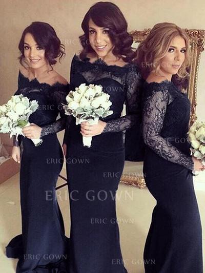 Sheath/Column Off-the-Shoulder Sweep Train Bridesmaid Dresses (007145014)