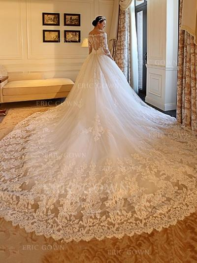 Ball-Gown Tulle Long Sleeves Off-The-Shoulder Royal Train Wedding Dresses (002147801)