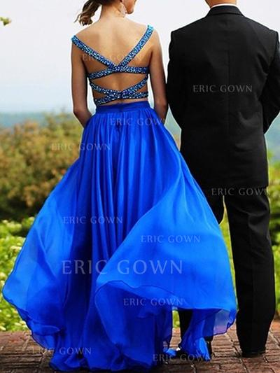 A-Line/Princess Sweetheart Floor-Length Prom Dresses With Beading (018217310)