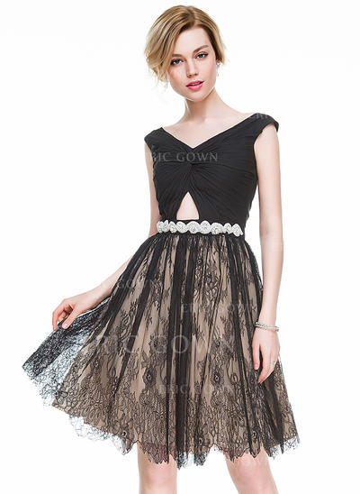 A-Line/Princess V-neck Knee-Length Chiffon Lace Cocktail Dress With Ruffle Beading Sequins (016083897)