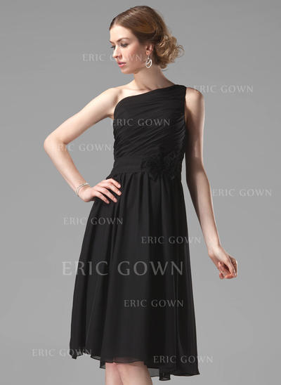 A-Line/Princess Chiffon Bridesmaid Dresses Ruffle Flower(s) One-Shoulder Sleeveless Knee-Length (007004118)