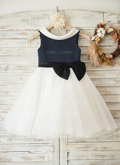 A-Line/Princess Knee-length Flower Girl Dress - Satin/Tulle Sleeveless Scoop Neck With Bow(s) (010117700)