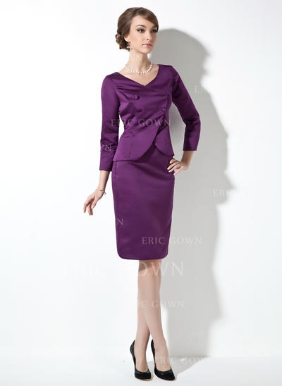 Sheath/Column Satin Long Sleeves V-neck Knee-Length Zipper Up Mother of the Bride Dresses (008211235)