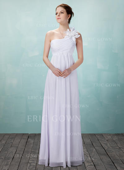 Empire Chiffon Sleeveless One Shoulder Floor-Length Wedding Dresses (002004475)
