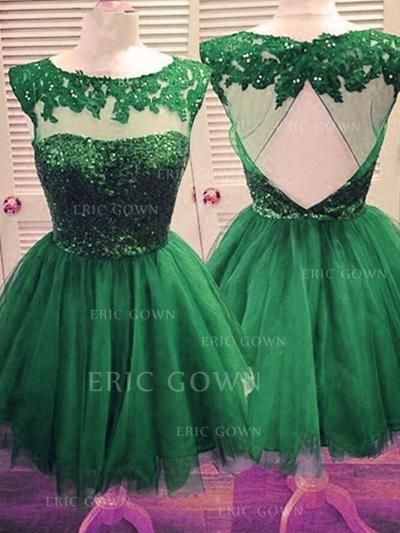 A-Line/Princess Scoop Neck Short/Mini Homecoming Dresses With Beading Appliques Lace (022216268)