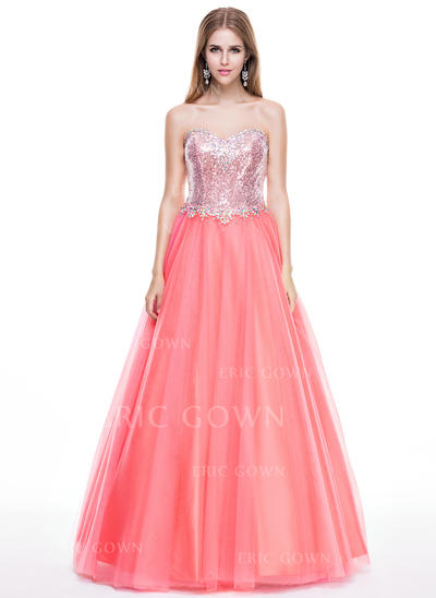 Ball-Gown Sweetheart Floor-Length Prom Dresses With Beading (018056809)