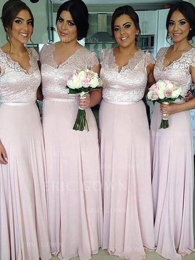 A-Line/Princess Chiffon Bridesmaid Dresses Sash V-neck Short Sleeves Floor-Length (007211701)