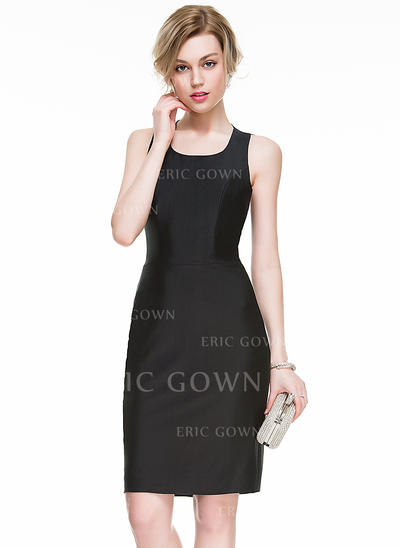 Sheath/Column Square Neckline Knee-Length Jersey Cocktail Dress With Split Front (016077851)