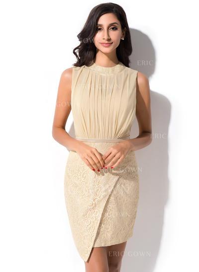 Sheath/Column Scoop Neck Short/Mini Chiffon Lace Cocktail Dress With Ruffle (022052654)