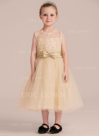 A-Line/Princess Tea-length Flower Girl Dress - Taffeta/Tulle/Lace Sleeveless Scoop Neck With Beading (Detachable sash) (010132402)