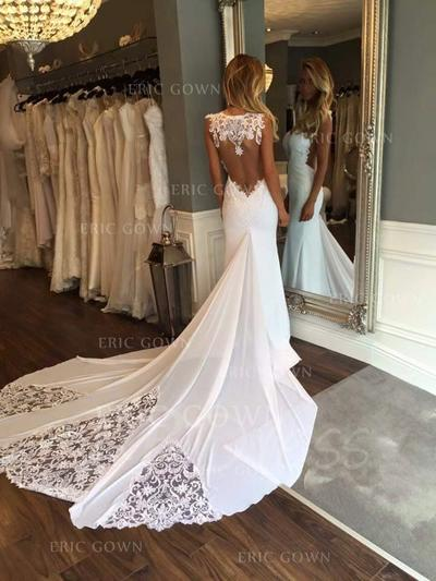 Trumpet/Mermaid Sweetheart Cathedral Train Wedding Dresses With Appliques Lace (002146954)