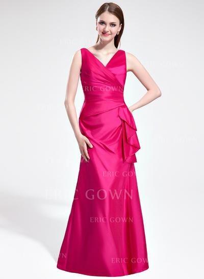 Trumpet/Mermaid Taffeta Bridesmaid Dresses Cascading Ruffles V-neck Sleeveless Floor-Length (007198035)