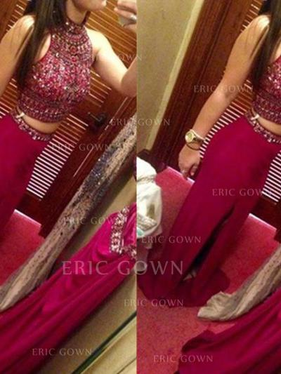Sheath/Column Sweep Train Prom Dresses High Neck Jersey Sleeveless (018145915)