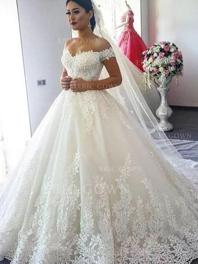 Ball-Gown Off-The-Shoulder Sweep Train Wedding Dresses With Lace (002218049)