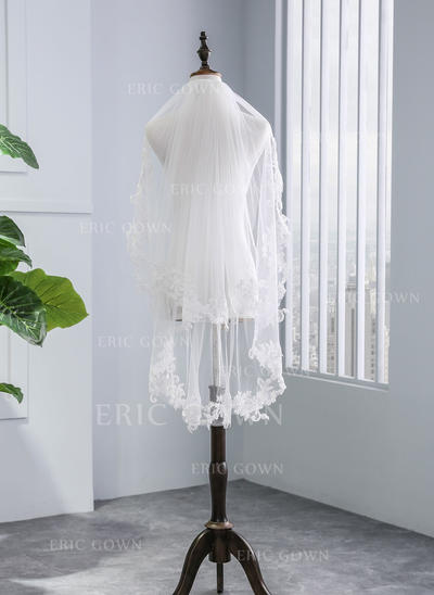 Fingertip Bridal Veils Tulle Two-tier With Lace Applique Edge With Lace Wedding Veils (006152513)