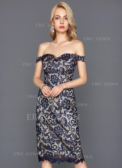 Sheath/Column Off-the-Shoulder Knee-Length Lace Cocktail Dress (016117260)