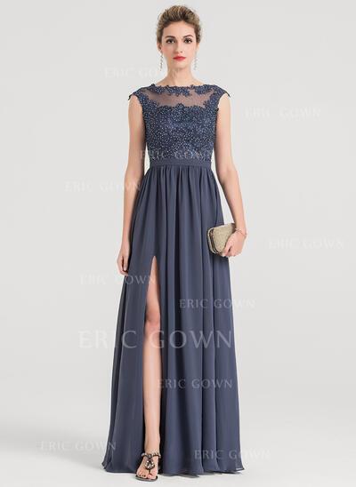 A-Line/Princess Scoop Neck Floor-Length Chiffon Evening Dress With Beading (017147974)