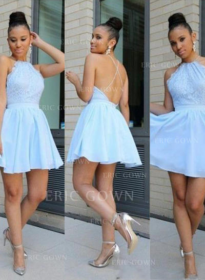 A-Line/Princess Scoop Neck Short/Mini Chiffon Evening Dresses With Lace (017217497)