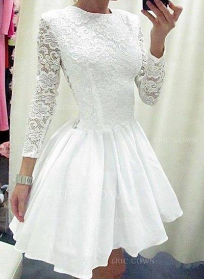 A-Line/Princess Scoop Neck Short/Mini Satin Cocktail Dresses (016145307)