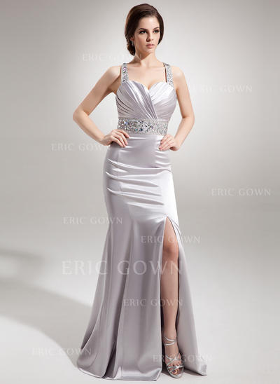 Trumpet/Mermaid Sweetheart Watteau Train Evening Dresses With Ruffle Beading Split Front (017016338)