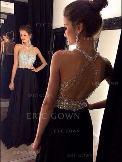 A-Line/Princess Sweep Train Prom Dresses Scoop Neck Chiffon Sleeveless (018144652)