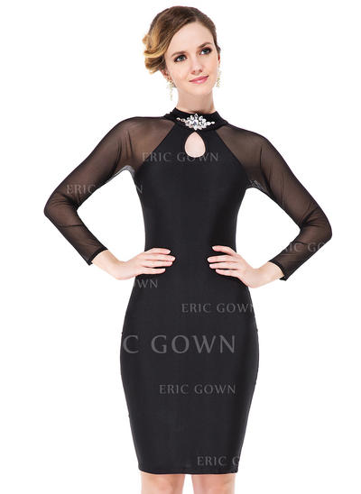 Sheath/Column Scoop Neck Knee-Length Jersey Cocktail Dress With Beading (016051136)